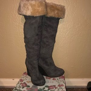 Zigi Soho Shoes - Gwyneth Zigi Soho Suede and Faux Fur Wedge boots